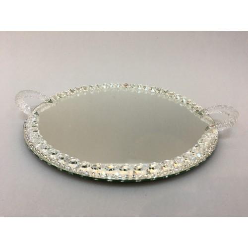 Kristal Nişan Tepsisi Oval Gümüş