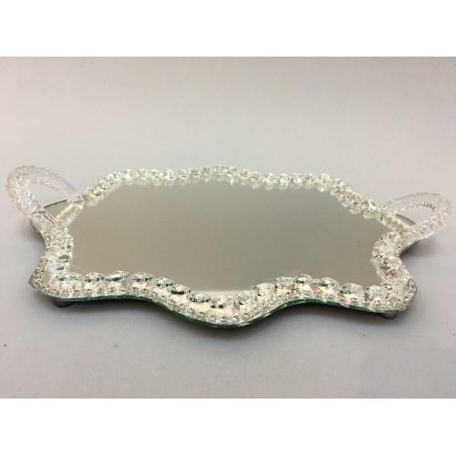 Kristal Nişan Tepsisi Dalgalı Gümüş