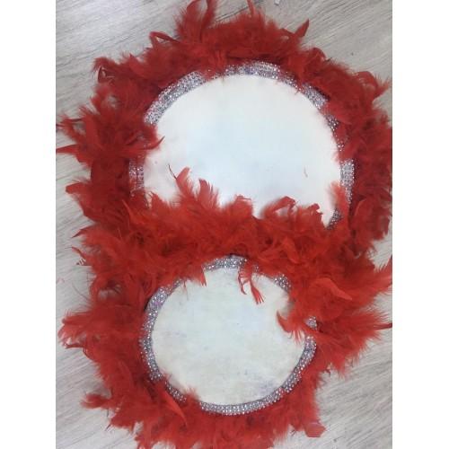 22 cm Kırmızı Kaz Tüylü Gümüş Boncuk Detaylı Deri Tef
