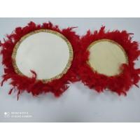 22 cm Kırmızı Kaz Tüylü Sarı Boncuk Detaylı Deri Tef