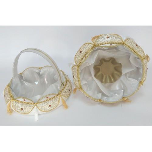 Kına Sepet Tepsi Takımı Aplikeli Beyaz Gold Şeritli